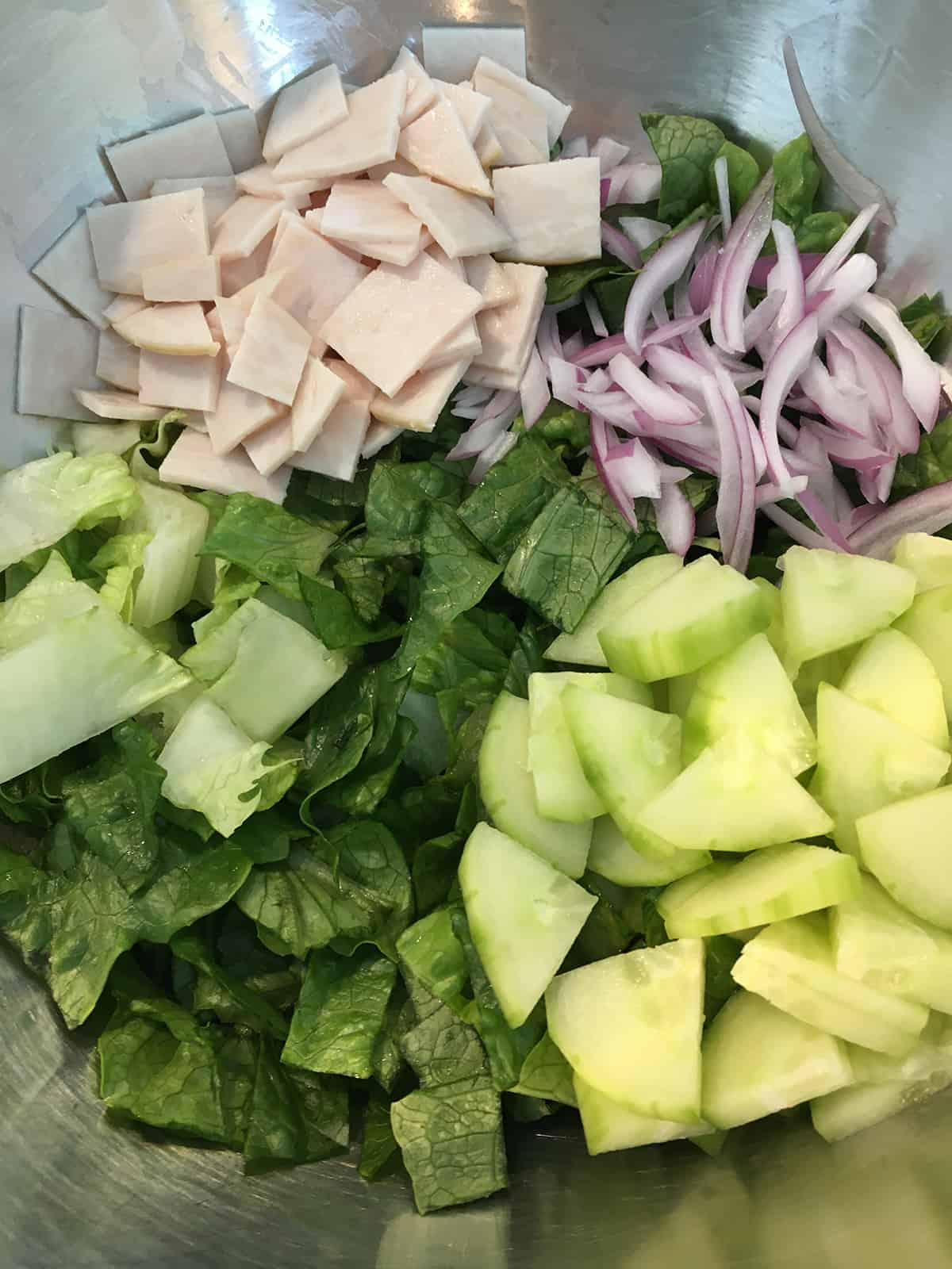 Sliced chicken, red onions, cucumbers and chopped Romaine lettuce in a stainless steel mixing bowl
