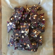 Chocolate bark with almonds, dried cranberries and sea salt